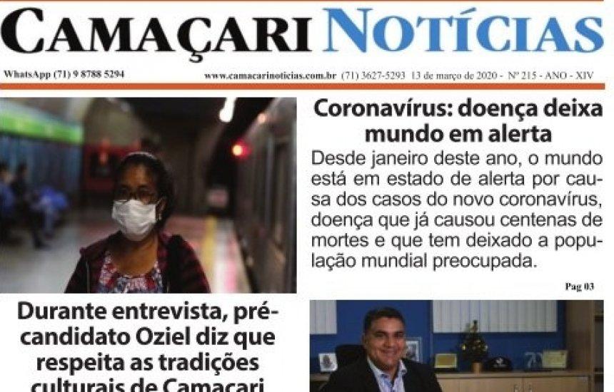 [Edição 215 do jornal impresso Camaçari Notícias fala sobre coronavírus e violência doméstica]
