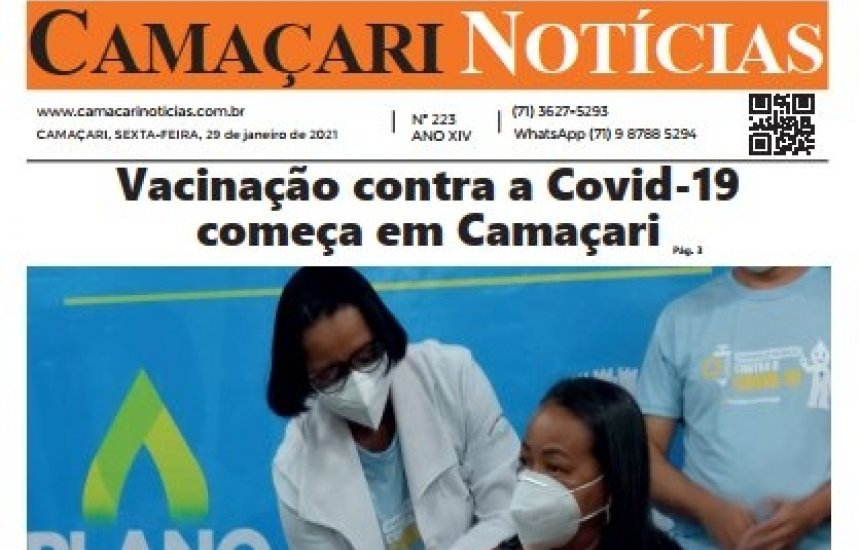 [Edição impressa do Camaçari Notícias destaca vacina contra Covid e fechamento da Ford]
