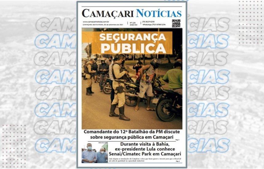 [Jornal impresso Camaçari Notícias destaca segurança pública na cidade]