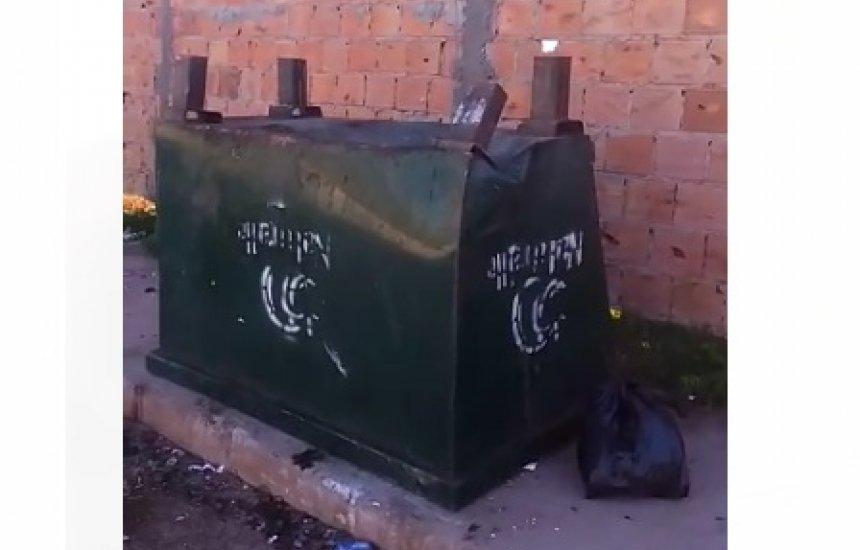 [Seu Bairro no CN: funcionários coletam lixo e deixam caçamba emborcada no Verde]
