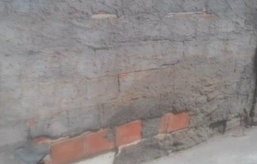 Leitor alerta para muro rachado próximo a escola do Parque Verde; vídeo