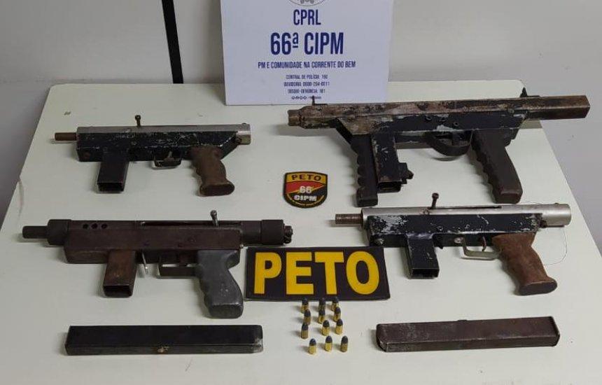 [Polícia apreende quatro submetralhadoras calibre 9mm encontradas em Feira]