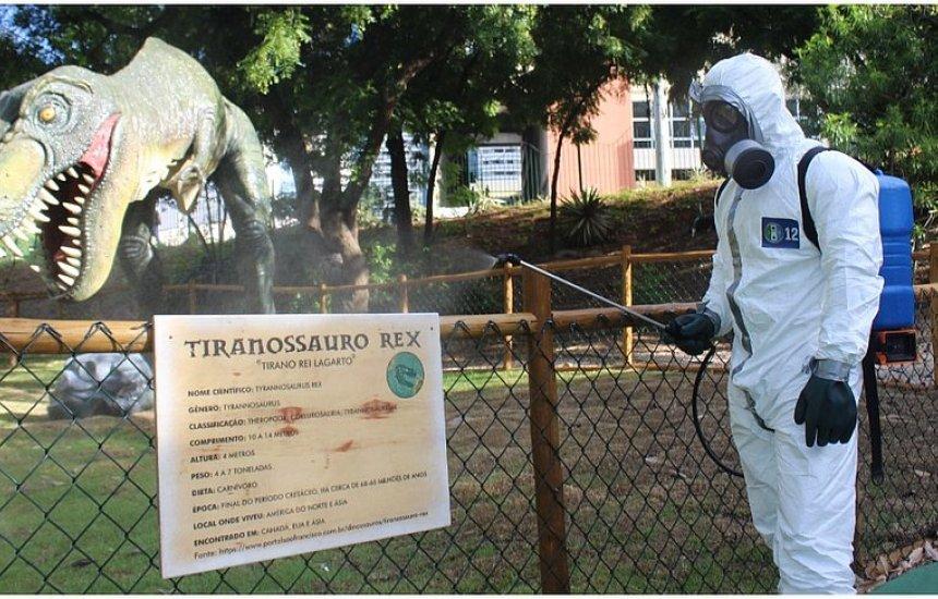 [Dinossauros de lagoa de Salvador são 'desinfectados' da covid-19]
