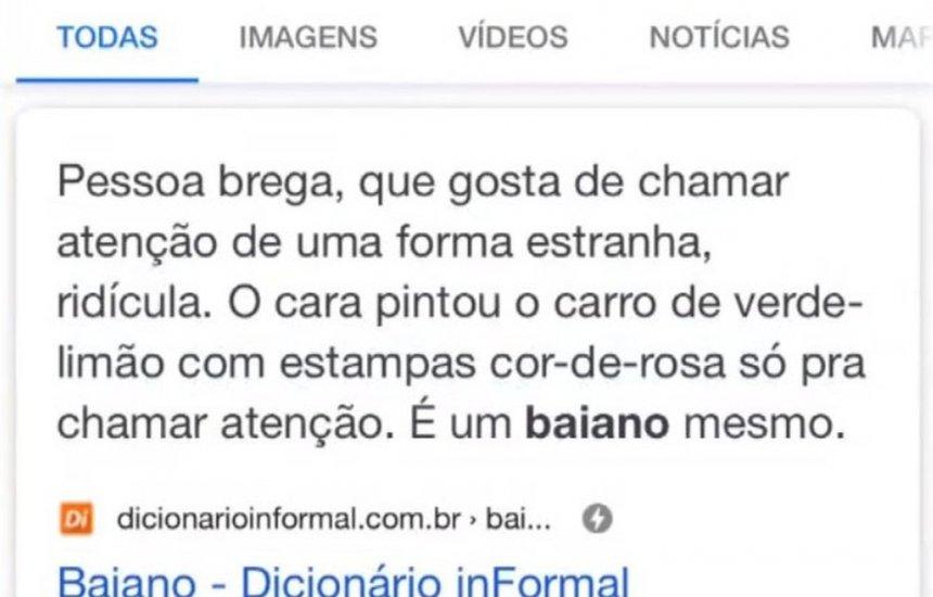 Definição de baiano em site gera polêmica na internet e influencers rebatem